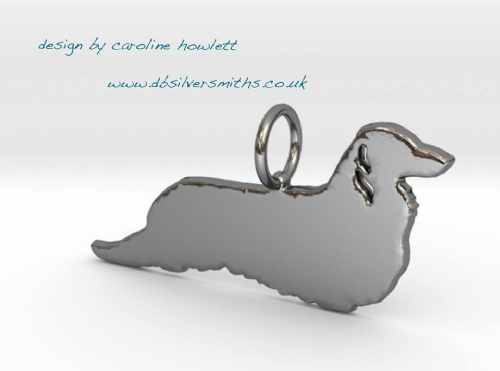 Miniature long haired Dachshund design with ear cuts dog silhouette pendant sterling silver handmade by saw piercing Caroline Howlett Design